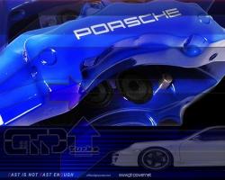 PORSCHE 6 KOLBEN - 358x32mm BREMSENKIT Blau 2