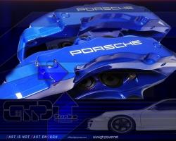 PORSCHE 6 KOLBEN - 358x32mm BREMSENKIT Blau 3