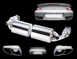 Porsche 997 Turbo - Sport Auspuffanlage ab Krümmer 2x 60mm 1